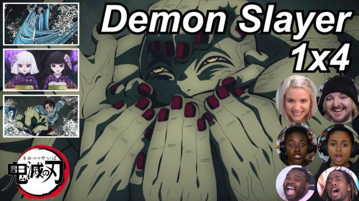 Demon Slayer 1×4 Reactions   Amazing Anime Reactors!!!   【鬼滅の刃】【海外の反応】