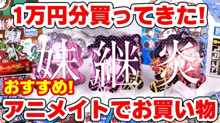 【鬼滅の刃】アニメイトで1万円企画!新商品が続々入荷!一文字キーホルダー、にとたん新作など配列検証!