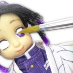 【鬼滅の刃の胡蝶しのぶにリメイクしてみた🦋】プリンセスの白雪姫のアニメータードールをリペイントしてみた♪ アニメのヘアメイクを忠実に再現❤︎ Demon Slayer Repaint Doll
