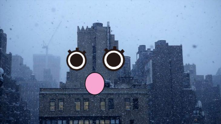 【 doodles アニメ 】雪降る街 , クリスマス , ビル , 建物 から 顔が出現する ドッキリ ?  おもしろ動画