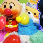 【アンパンマン たまごシリーズ】おもちゃ砂遊び カラフル アニメキャラがキネティックサンドから探そう 何が出るかな? ぽろりんキッズ