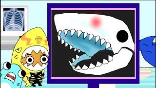 【サメニンの冬のアニメ】サメのレントゲンを撮ってみよう!骨と体の仕組みを知ろう知育教育アニメ!